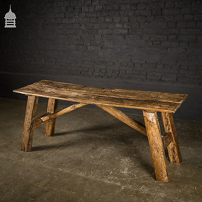 Solid Two Plank Oak Table made from Antique Beams