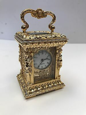 Small Gold Gilt Brass Carriage Clock. Open To Offers?