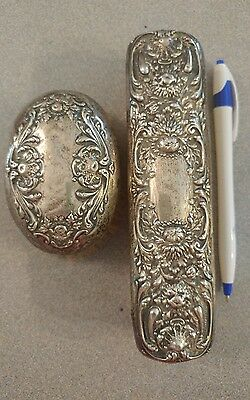 Antique Art Nouveau  Sterling Brush Set - 2 pc, Very ornate