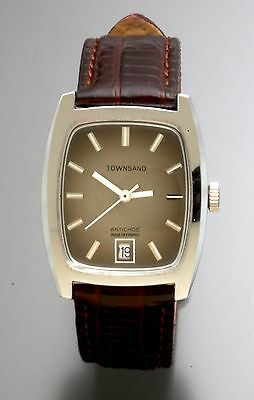 17 Jewel Townsand Antichoc Watch | Brown & Silver Dial With Date Tonneau Case