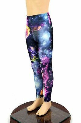 Kids 7 UV GLOW Cosmic Galaxy Space Costume Dress Up Leggings Rave Ready to Ship!