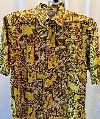 QUIKSILVER Boys L 16-18 Hawaiian Boardriding Short Sleeve Shirt Floral Button-Up