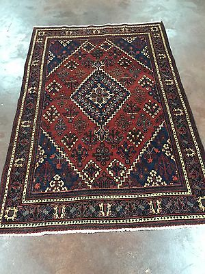 """Hand Knotted Persian Abadeh-Shiraz Geometric Rug Carpet  4x7,4'3""""x6'6''"""