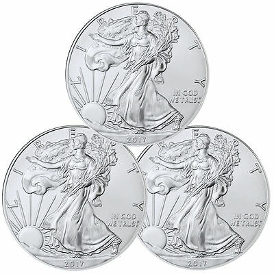 2017 1 Troy oz. American Silver Eagle - Lot of 3 Coins