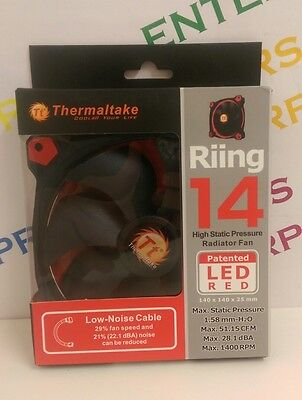 Thermaltake Riing 14 LED 140mm Ring PC Case High Pressure Cooling Fan - RED