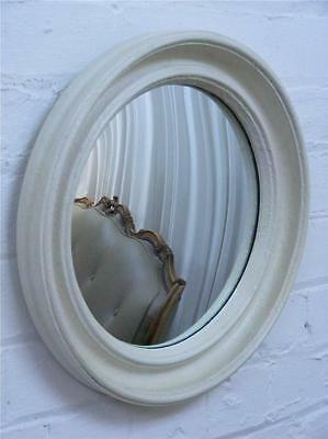 Vintage convex reflective  glass round mirror with painted wood & plaster frame