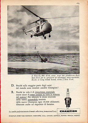 Pubblicità Advertising Werbung 1958 candele CHAMPION - Sikorsky HO 4S-36