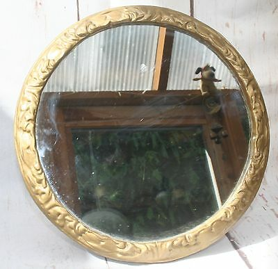 Antique Vintage Circular Dressing Table Easel Mirror Gilded Plaster Frame
