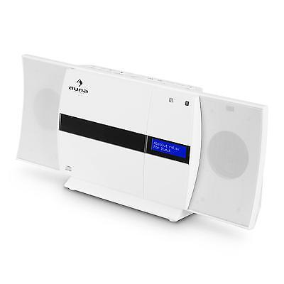 Vertikal Stereo Musikanlage Bluetooth Mp3 Cd Usb Ukw Aux Wandmontage Weiss