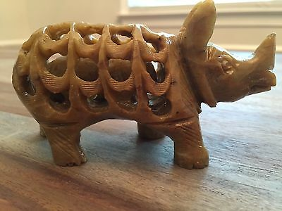 Stone Carved Mother Rhino with a Baby