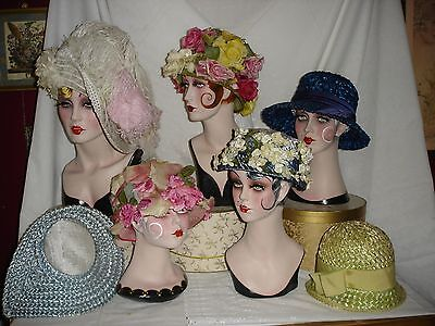 Lot of 7 Beautiful Vintage Straw Floral Spring Garden Party Hats