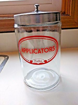 Vintage PROFEX Applicators Apothecary Medical Glass Jar Doctor's Office