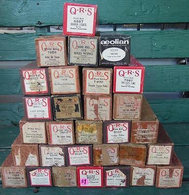 30 Pcs Antique Player Piano Rolls Qrs Aeolian Lot Excellent Condition
