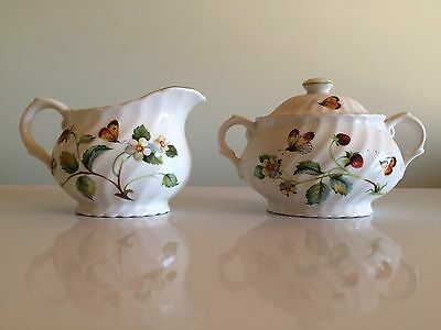 Vintage Old Foley Strawberry Cream and Sugar Set