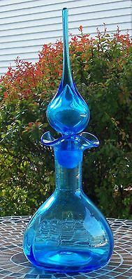 "Vintage Blenko Turquoise Eames Era Ruffled Decanter #37 - 17 1/2"" tall"