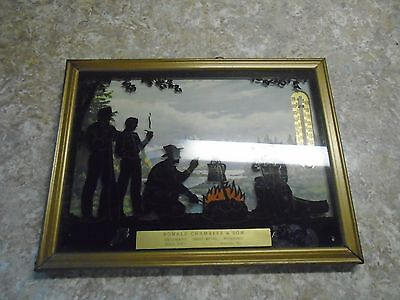 Siloutte Picture, Cowboys Sitting Around Campfire, Thermometer Advertising