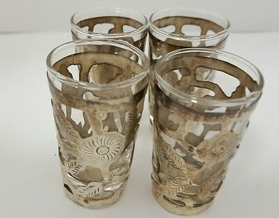 Vintage Mexican Set Of 4 Sterling Silver Glass With Floral Overlay Shot Glasses