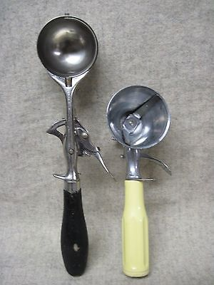 *rare, (2) Vintage Ice Cream Adjustable Scoops, Progressus & Clipper, Nice
