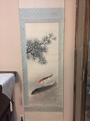 Vintage Japanese Two Koi Fishes Hanpainted on Silk Scroll, Signed by Artist