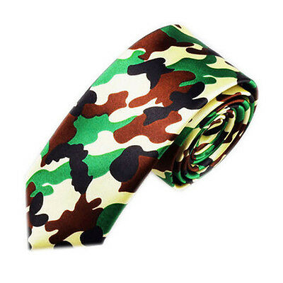 Unisex Novelty Fancy Dress Green Brown Black Camouflage Skinny Tie - Brand New