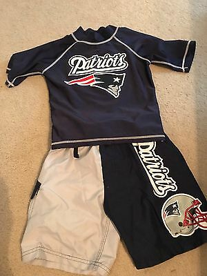 Boys New England Patriots Rash guard And Board shorts Swim 4/5