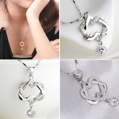 Fashion Women 925 Silver Plated Double Heart Pendant Necklace Chain Jewelry