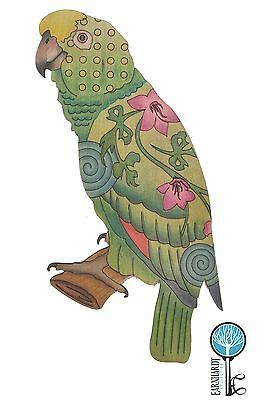 Adult Coloring Wood Parrot. DIY. Earnhardt Collection