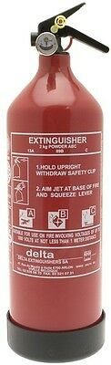 ABC Dry Powder Fire Extinguisher with Gauge - 2kg Delta 1142 Genuine Quality New