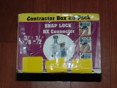 """Contractor Box 25 Pack 3/8"""" - 1/2"""" Snap Lock Bx Connector"""