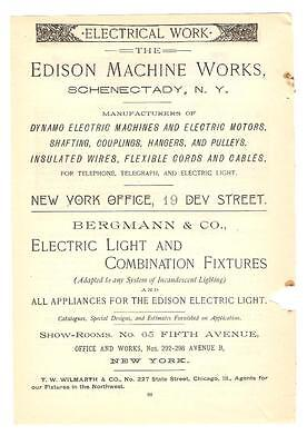 Antique Original 1889 FULL PAGE Print Ad - Edison Machine Works SCHENECTADY NY