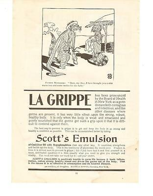 "Antique Original 1899 FULL PAGE Print Ad - ""LA GRIPPE"" - New York DISEASE"