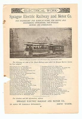 Antique Original 1889 FULL PAGE Print Ad - Sprague Electric Railway & Motor Co.