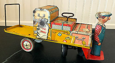Unique Art ~ Finnegan & His Baggage Cart ~ Tin Litho Wind Up ~ 1930s ~ Working!