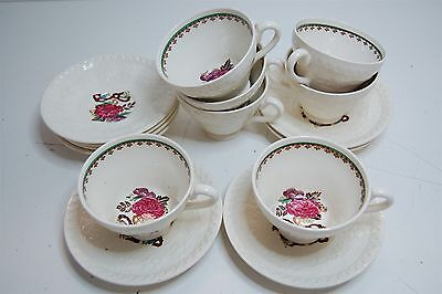 Antique Wedgwood Wellesley Tea Cups & Saucers 15 pcs Cream Hand Painted England