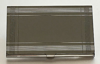 Art Deco Business Card Case / Holder W/ Black Felt Pouch, Silver, Engraved Free