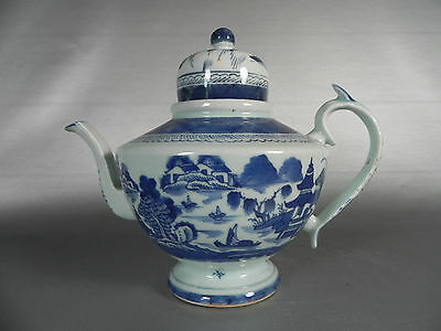 19th Century Chinese Canton Blue and White Tea Pot