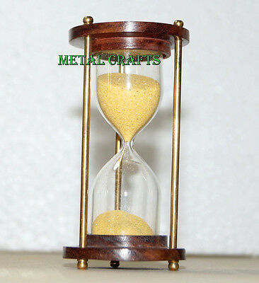 Antique Sand Timer Wooden & Brass Vintage Sand Glass Watch Maritime Gifts