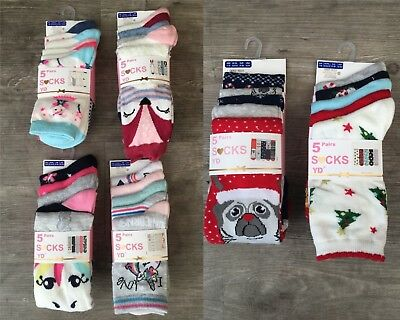 New 5 x Pairs Girls Primark Unicorns / Llama / Cat / Animals / Flamingo Socks