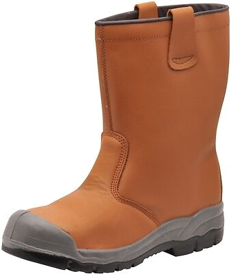 Tan Steelite Rigger Boots with Scuff Cap S1P - Size 12 Portwest FW13TAR47 New