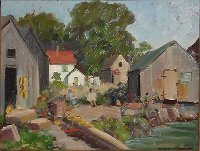 RICHARD BISHOP-PA Realist-Original Signed Oil-Rockport Maine Harbor