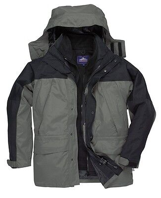 Portwest S532GRRS Grey & Black Orkney 3 in 1 Jacket - Small New