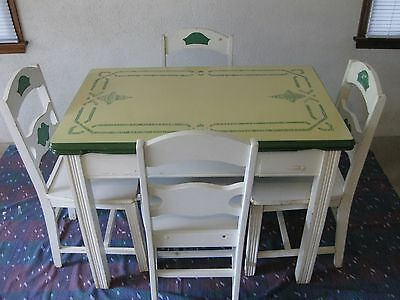 Vintage Farm Porcelain Enamel Top Kitchen Table w/ 4 Chairs Green, Yellow, White