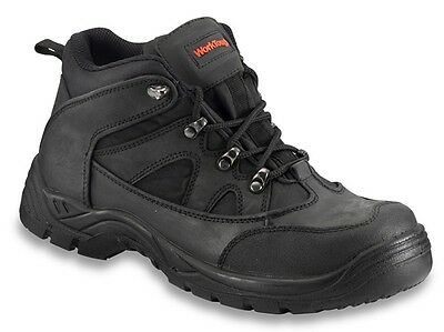 Black Safety Mid-cut Hiker Boot - Size 9 Worktough 73SM09 New
