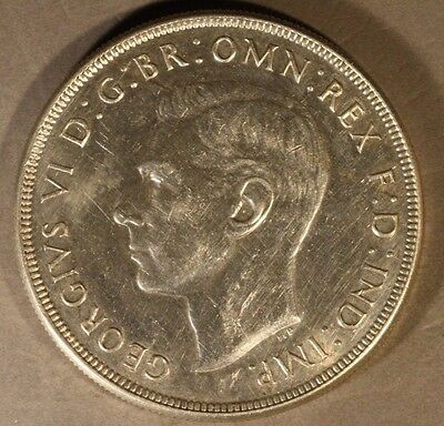 1938 Australia Silver Crown Rare Date Lightly Buffed ** Free U.S. Shipping **