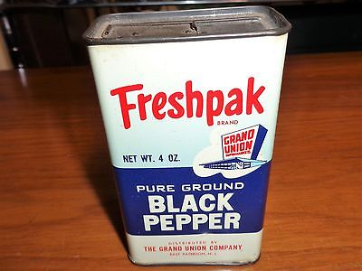 Vintage Grand Union Freshpack Pure Ground Black Pepper Metal Can 4 Oz