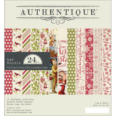 """Authentique Double Sided Cardstock Pad 6X6""""24/Pkg Christmastime 12 Designs/2 Ea"""