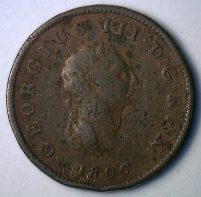 1806 Copper Half Pence UK Half Penny Great Britain Coin YG-3