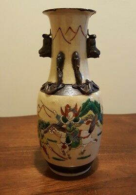 Late 19thC (1880) Chinese Vase, Crackled Glazed, Hand painted Warriors.