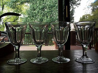 set (3) wine cordial claret glasses 4.75'', Colonial Puritan Clear Heisey Glass