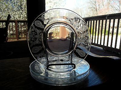 "(4) Salad Luncheon Plates 8"" Glass Tiffin Franciscan Crystal 17392 June Nights"